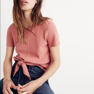 Madewell Salmon Front Tie Knot Textured Top